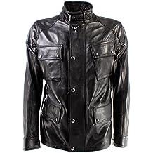 Giacca Uomo BELSTAFF 71050387 Woodbridge Jacket Man Black Pelle Nera Nuovo