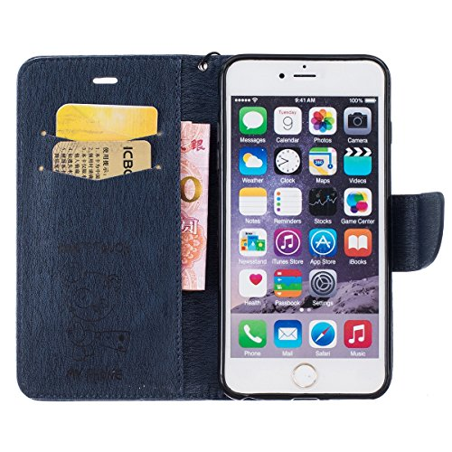 iPhone 6S Hülle,iPhone 6 Ledertasche,JAWSEU Lanyard Prägung Bär DON'T TOUCH MY PHONE Muster Retro/Vintage Handyhülle Tasche Cool lustig Tier Brieftasche Folio Tasche Hüllen Handycover Schutz Cases Etu Bär,Dunkelblau