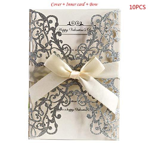 JOYKK 10 Teile/Satz Spitze Rose Bohrer Glitter Hochzeitseinladungskarten Mit Bogen Band Für Brautdusche Engagement Geburtstag Abschlussfeier - Silber - Jubiläum-diamant-band