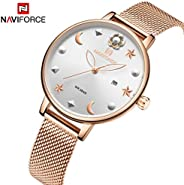 Naviforce Women's White Dial Stainless Steel Mesh Chronograph Watch - NF5009