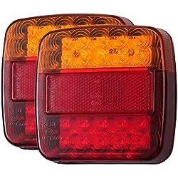 LiNKFOR Feux Arrière de Camion 2PCS 12V LED Feux de Frein Arrière 5 Fonction Feux de Direction Clignotants Feux de Plaque d'Immatriculation Compatibles avec Remorques Camions Fourgonnettes Caravane