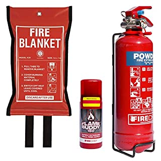 Fire Extinguisher & Fire Blanket Premium Home Safety Kit - 1kg Powder Extinguisher, 150ml Maintenance Free Flamebuddy Safe For Cooking Oil/Fat Fires & Fire Blanket. British Standard Approved