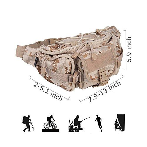 Oleander Taktische Taille Pack Military Fanny Packs Hüftgürtel Tasche Beutel Werkzeug Organizer für Outdoor Wandern Klettern Angeln Jagd Bum Bag Wüste digital