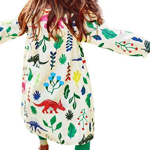 Für 2-7 Jahre Mädchen Kleid, Janly Kinder Dinosaurier Pflanzen Gedruckt Mini Kleider Pullover Kinder Baumwolle Herbst Kleidung (Alter: 7 Jahre alt) -