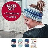 myboshi Häkelset für Stirnband Amami inkl. Wolle + Häkelanleitung in 3 Farben (blaubeere himmelblau marine)