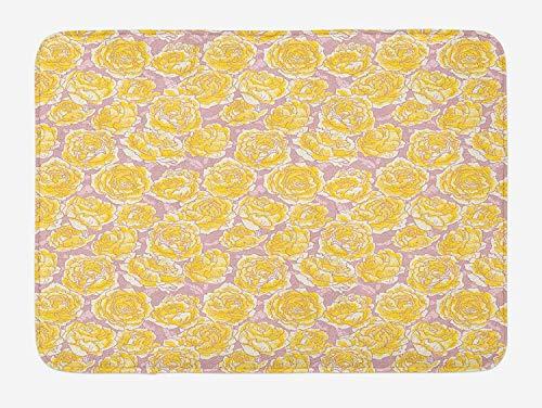 Klotr Felpudos, Flower Bath Mat, Hand Drawn Romantic