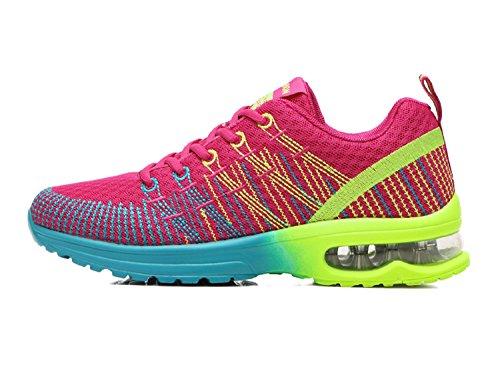 NEOKER Zapatos de Running Para Mujer Zapatillas Deportivo Outdoor Calzado Asfalto Sneakers Rojo 37