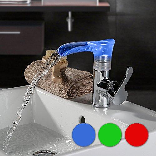 KINSE® LED RGB Messing Wasserhahn Wasserfall Küchenarmatur Waschtischarmatur Einhebelmischer für Küchen