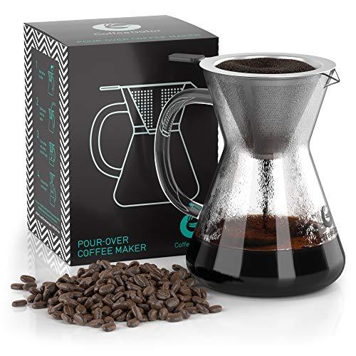 Coffee Gator Pour Over Kaffeebrüher - Mehr Geschmack mit einem papierlosen Edelstahlfilter und einer Glaskaraffe - Manueller Drip Kaffeebereiter - 400 ml (Starbuck-kaffee-geschenk-korb)