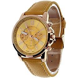 Zolimx Women's Roman Numerals Faux Leather Analog Quartz Wrist Watch Yellow