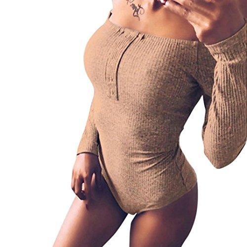 Damen Jumpsuits , Frashing Mode Frauen Solid Off Schulter Slim Long Sleeved Playsuit Langarm Hosenanzug Jumpsuit Damen Elegant Lang Hosen Trägerlos Overall Frauen Langarm aushöhlen (S, Khaki) (Slim-tier Womens)
