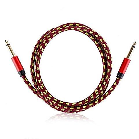 Neewer® 10 Fuß / 3 Meter Gitarre Instrumentenkabel mit gerade 1/4-Inch zu gerade 1/4-Inch, Rot und Gelb gemustert Stoff Oberteil