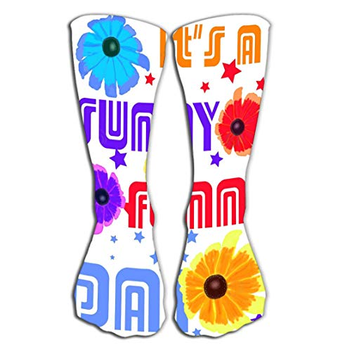 Xunulyn Hohe Socken Outdoor Sports Men Women High Socks Stocking Colorful Graphic Design s Sunny Funny Day Quote watercolored Black Eyed Susan Flowers Tile Length 19.7