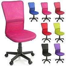TRESKO Silla de oficina escritorio giratoria, disponible en 7 variantes de colores, con ruedas para suelos duros, regulable en altura de forma continua, asiento acolchado, respaldo ergonómico, pistón de gas certificado por SGS (Rosa)