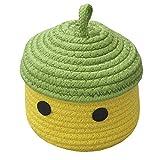 Inwagui Kleiner Aufbewahrungskorb mit Deckel Baby Aufbewahrungsbox aus Baumwollseil Dekorative Korb für Kinderzimmer, Wohnzimmer, Büro - Grün/Gelb