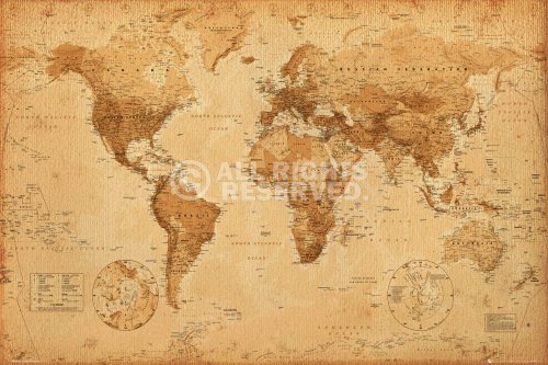 REINDERS Poster Antike Weltkarte - Landkarte Vintage Retro Stil - World map - Bild maxi groß 91,5 x...