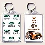 Keep Calm and DREAM eines Range Rover Schlüsselanhänger auf ein Bild von einer orange 2013 Range Rover Sport GTS-X auf der einen Seite und Land Rover logos auf der anderen, aus unserer Keep Calm and Carry On