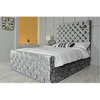 Chesterfield Bed Sleigh Style Crushed Velvet Diamante Bed