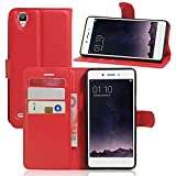 Tasche für OPPO F1 (5 zoll) / OPPO A35 Hülle, Ycloud PU Ledertasche Flip Cover Wallet Case Handyhülle mit Stand Function Credit Card Slots Bookstyle Purse Design rote
