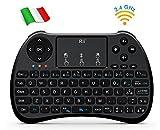 Rii Mini H9+ Wireless (Layout Italiano) - Mini Tastiera retroilluminata con Mouse touchpad per Smart TV, Mini PC, TV Box, Console, Computer - Versione Italiana