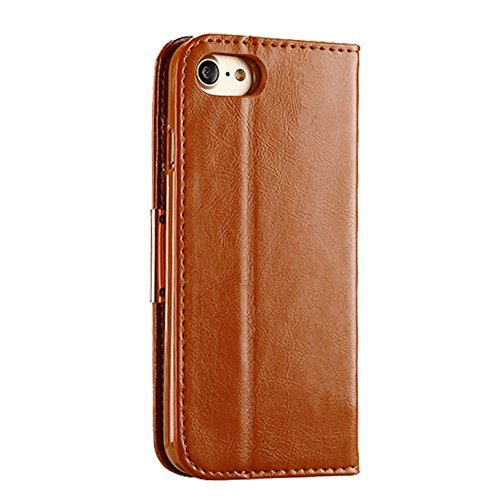 GHC Cases & Covers, Für iPhone 7 TPU Magnetische Horizontale Flip Echtes Leder Etui mit Card Slots & Halter, KALAIDENG ROYALE Serie ( Color : Black ) Brown