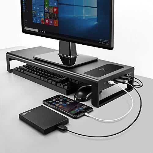 Vaydeer USB3.0 Wireless Charging Aluminium Monitor Ständer Riser Support Datenübertragung und Aufladung, Tastatur Maus Speicherorganisator Schreibtisch bis zu 32 Zoll für Laptop-Computer MacBook PC ...