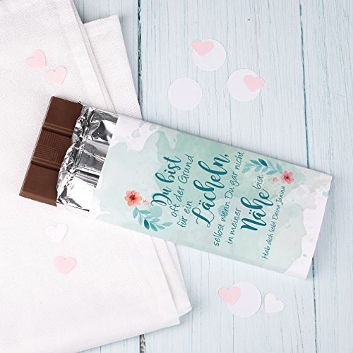 Herz & Heim® Vollmichltafel mit Liebeserklärung und eigener Widmung unter dem Spruch