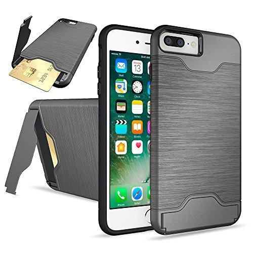 """DolDer iPhone 7 4.7"""" Hülle Tasche Schutzhülle, Hybrid Hülle Cover mit Selbst Ständer + Kartenfach (holder + card slot), blau iphone 7 plus Grau"""