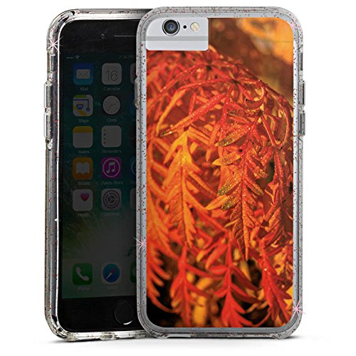 Apple iPhone X Bumper Hülle Bumper Case Glitzer Hülle Blaetter Leaves Orange Bumper Case Glitzer rose gold