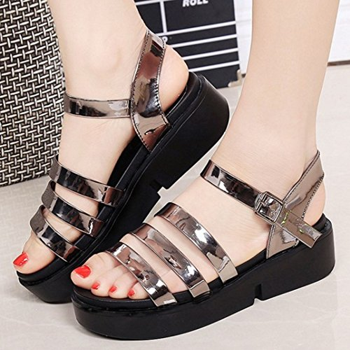 TAOFFEN Femmes Mode Sandales Bout Ouvert Sangle De Cheville Slingback Chaussures De Boucle Gunmetal