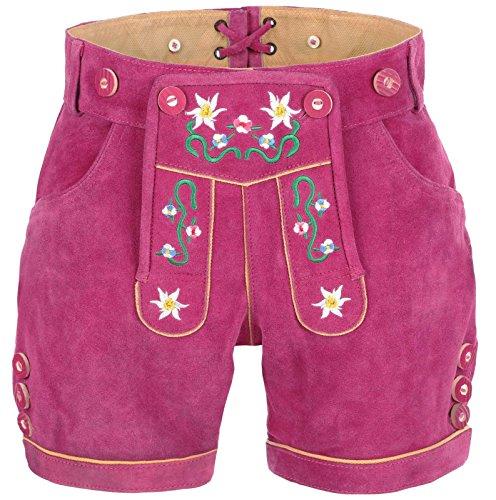 exklusive Damen Lederhose mit Trägern Pink