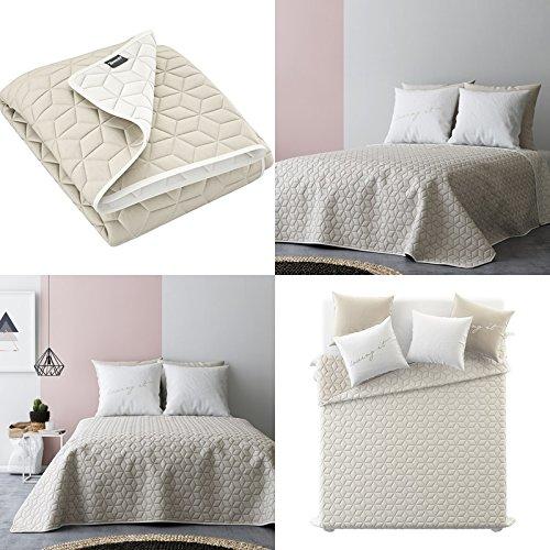 Tagesdecke Steppdecke Größe: 200 cm x 220 cm Bettüberwurf Muster NEXT doppelseitig: beige + ecru
