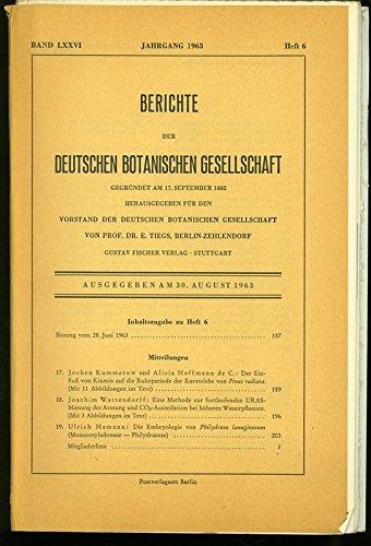 Der Einfluß von Kinetin auf die Ruheperiode der Kurztriebe von Pinus radiata, in: BERICHTE DER DEUTSCHEN BOTANISCHEN GESELLSCHAFT, Heft 6 / 1963.