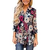 Langarmshirts,Shopaholic0709 Damen Tops Frauen V-Ausschnitt Print Shirt Top Damen& Mäntel Baumwolle und Leinen Revers Langarmhemd Westen Unregelmäßiges Hemd
