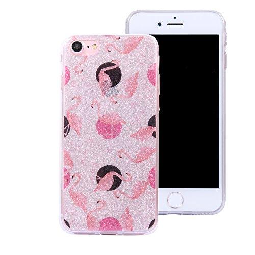 iphone 7 plus Hülle,iphone 7 plus TPU Glitzer-Hülle – Cozy Hut iphone 7 plus Schutzhülle Case Silikon- Bling Shining Crystal Ultra Dünn Durchsichtige Backcover Handyhülle Schutzhülle für iphone 7 plus Flamingo