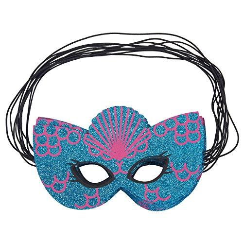 Maskerade-Maske - 12 Pack Mermaid Filz-Maske, Mardi Gras Party Gefälligkeiten in Meerjungfrau Blau und Pink Glitter Design für Tanz, Halloween Oder Motto Geburtstagsparty