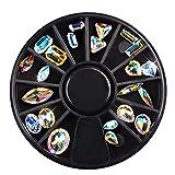 Shogpon 3D Unghie Arte Decorazioni Acrilico Strass Ruota DIY Nail Design Accessori Decorazione del Chiodo Glitter - Strass Trasparenti Sagomati