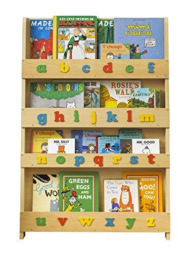 Tidy Books - Bücherregal Kinder | Weiß buntes Alphabet | Wandregal Kinderzimmer mit Holzbuchstaben | Montessori Material | 115 x 77 x 7 cm | Handgefertigt | Nachhaltig | Das Original seit 2004