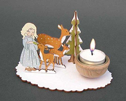 """Weihnachten - Bastel-Set """"Teelichthalter Mädchen mit Rehgruppe"""""""
