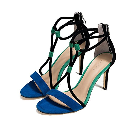 ZHIRONG Été mince talon sandales à talons hauts femme Europe et Amérique Open Toe givré femmes chaussures