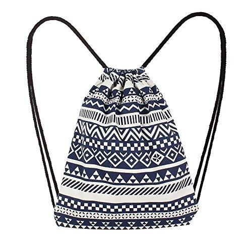 Preisvergleich Produktbild SamMoSon Schulrucksack Mädchen Jungen Backpack Schultaschen Backpacker Rucksack Damen Mode Frauen Leinwand Ethnische Wind Tasche Kordelzug Rucksack Student Tasche Daypack Rucksäcke