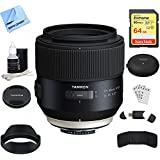 Tamron SP 85mm F1.8 Di VC USD Lens For Nikon Full-Frame DSLR Cameras (F016) (AFF016N-700) With TAP-in Console Lens Accessory, 64GB Memory & Memory Card Reader, Card Wallet, Cleaning Kit And More