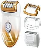Panasonic® Women's Ladies Wet and Dry Cordless Epilator & Electric Shaver Hair Remover - Foam Epilation In the Bath and Shower with 4 Attachments in 1