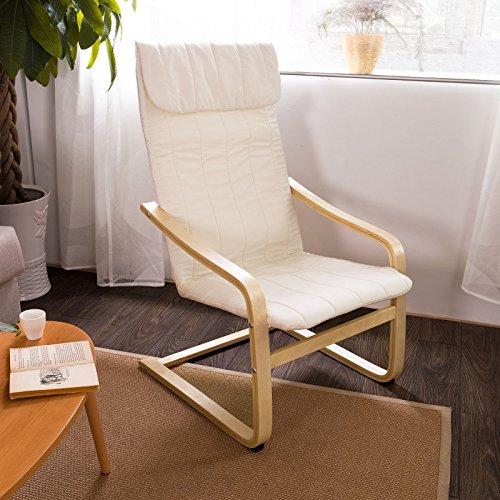 SoBuy Schwingstuhl,Schaukelstuhl,Relaxstuhl,Relaxsessel FST17-W (Weiß)