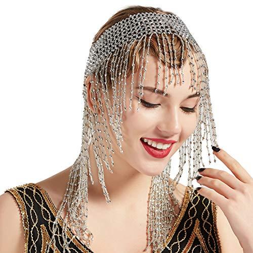 Cleopatra Kostüm Größe 20 - ArtiDeco 1920s Stirnband Damen Gatsby Haar Kette Exotisch Cleopatra Kostüm Accessoires 20er Jahre Flapper Blinkendes Haarband (Silber Stil-2)