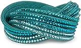 styleBREAKER weiches Strass Armband, eleganter Armschmuck mit Strassteinen, Wickelarmband, 6x1-Reihig, Damen 05040005, Farbe:Blaupetrol / Blaupetrol-Türkis-Klar