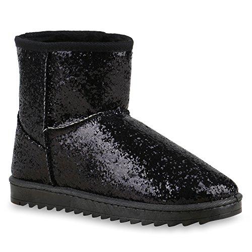 Damen Schuhe Schlupfstiefel Warm gefüttert Glitzer Schwarz