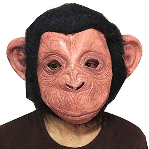 Miaomiaogo Erwachsene Latex Halloween Orang-Utan Maske für Tanz Gorilla Kopfbedeckung Film Orang-Utan Cosplay (Gorilla Kostüme Realistische Erwachsene)