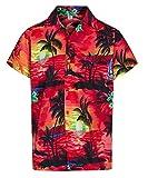 Herren Hawaii-Hemd Kurzärmlig Herrenabend Strandurlaub Aloha Sommer Kostüm Hawaii - Alle Größen - Rot, L