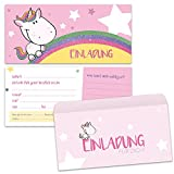 paperii Einladungskarten mit Einhorn Motiv mit Umschlag Einladungskarte mit Glitzer Zum Geburtstag Kinder Mädchen Jungen Kindergeburtstag Einschulung (6 Karten + 6 Umschläge)